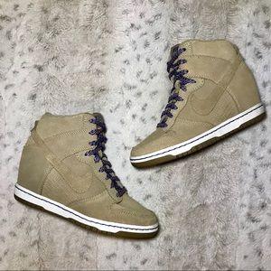 🔥Nike Sky Hi Suede Wedge Sneakers in Tan size 5